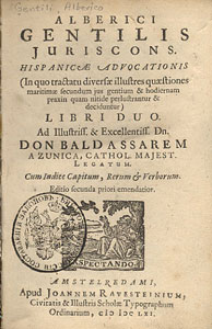 Джентили, Альберико. Две книги испанского адвоката. 1613.
