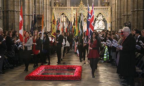 Церемония выноса флагов стран Содружества наций