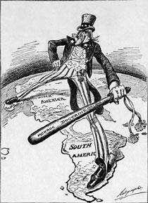 Карикатура, изображающая дядю Сэма, защищающего «Доктриной Монро» Западное полушарие