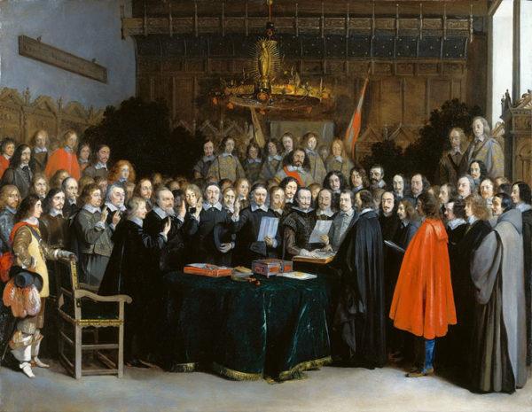 Ратификация Мюнстерского мира 15 мая 1648 года. Картина Герарда Тербоха, 1648 год.