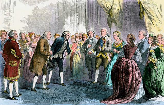 Представление главы американской дипломатической миссии Бенджамин Франклин Королю Франции Людовику XVI и Марии-Антуанетте в Версале