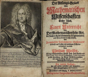 Христиан Вольф. Anfangs-Gründe aller mathematischen Wissenschaften («Основы всех математических наук»). 1732 г.