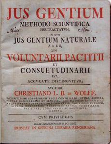 Христиан Вольф. Jus Gentium Methodo Scientifica Pertractatum («Право народов, изложенное по научному методу»). 1749 г.